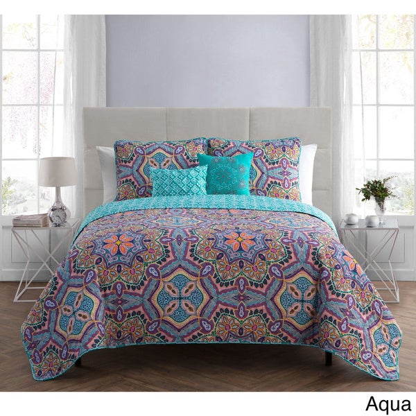 VCNY Yara 5 Piece Quilt Set - On Sale - Free Shipping Today ... : aqua quilt - Adamdwight.com