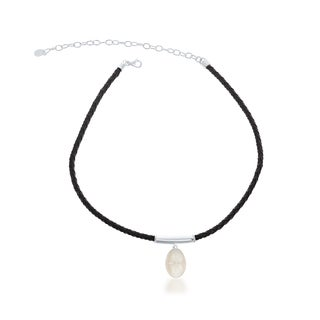 La Preciosa Sterling Silver Braided Leather and Freshwater Pearl Choker