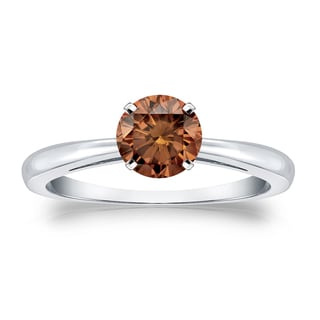 Auriya 14k Gold 1/2ct TDW 4-Prong Round Cut Brown Diamond Solitaire Engagement Ring (Brown, SI1-SI2)