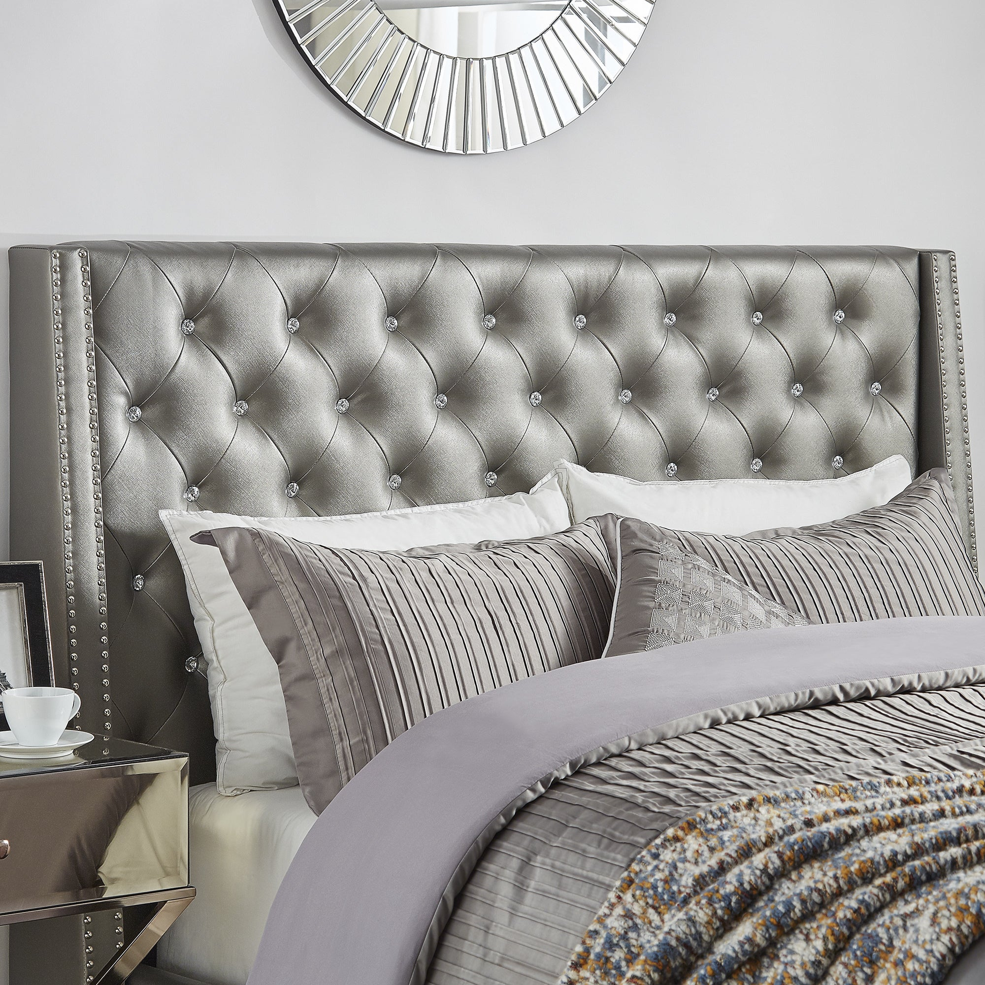 Aurora Faux Leather Crystal Tufted Nailhead Wingback Headboard by ...