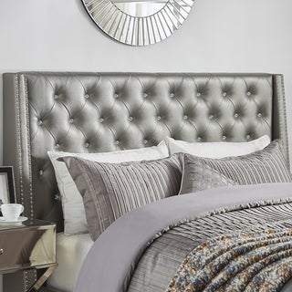 Aurora Faux Leather Crystal Tufted Nailhead Wingback Headboard by INSPIRE Q