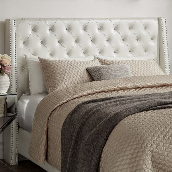 aurora faux leather crystal tufted nailhead wingback headboard by inspire q bold free shipping today