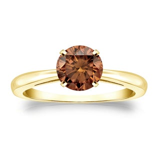 Auriya 14k Gold 3/4ct TDW 4-Prong Round Cut Brown Diamond Solitaire Engagement Ring (Brown)