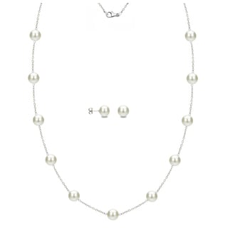DaVonna Sterling Silver 7-8mm White Freshwater Pearl Tin-cup Station Necklace and Stud Earrings Set