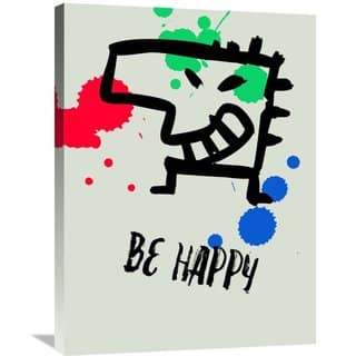 Naxart Studio 'Be Happy Poster 1' Stretched Canvas Wall Art