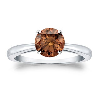 Auriya 14k Gold 1ct TDW 4-Prong Round Cut Brown Diamond Solitaire Engagement Ring (Brown, SI1-SI2)