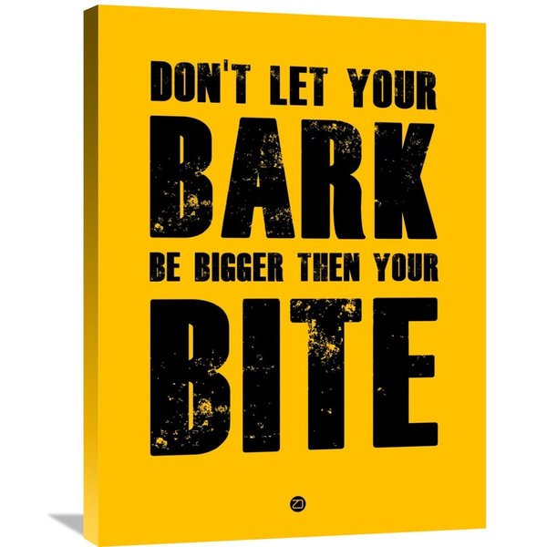 Naxart Studio 'Bark And Bite Poster Yellow' Stretched Canvas Wall Art