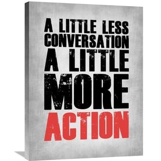 NAXART Studio 'A Little More Action Poster Grey' Stretched Canvas Wall Art