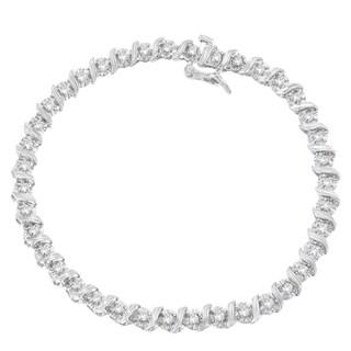 10K White Gold 1ct TDW Round Cut Diamond Wrap Bracelet (I-J, I3)