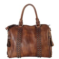 Diophy Genuine Leather Medium Studded Doctor-style Tote Bag