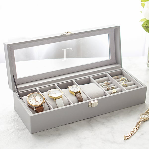 Personalized Grey Leatherette 4 Slot Watch Box and Jewelry Case. Opens flyout.