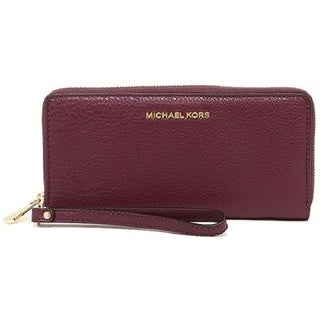 Michael Kors Bedford Plum Leather Travel Continental Wristlet