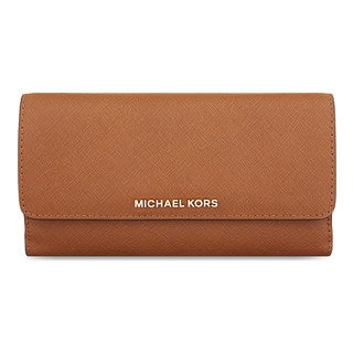 Michael Kors Bedford Brown Leather Flat Clutch Wallet