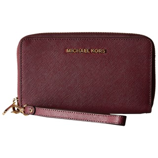 Michael Kors Saffiano Jet Set Travel Plum Leather Flat Multifunction Wallet