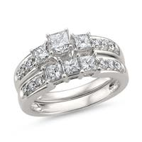 Montebello Jewelry 14k White Gold 1 1/2ct TDW White Diamond Engagement and Wedding Ring Bridal Set (H-I, I1)