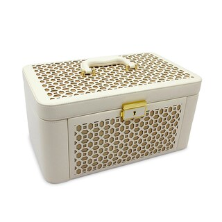 Morelle Alexis White Leather Large Pullout Jewelry Box