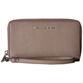 Michael Kors Saffiano Jet Set Brown Leather Clutch Wallet