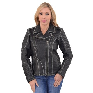Rubb Off Women's Black Motorcycle Jacket with Full Hoodie Liner