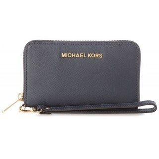 Michael Kors Women's Jet Set Navy Saffiano Leather Travel Flat Wallet