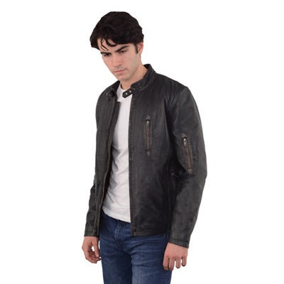 Men's Moto Racer Sheepskin Leather and Twill Jacket With Throat Latch
