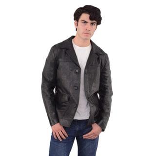 Men's Leather Button-front Car Coat. Opens flyout.