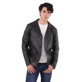 Men's Leather Button-front Car Coat