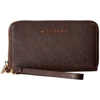 Michael Kors Saffiano Coffee Leather Jet Set Travel Flat Multifunctional Wallet