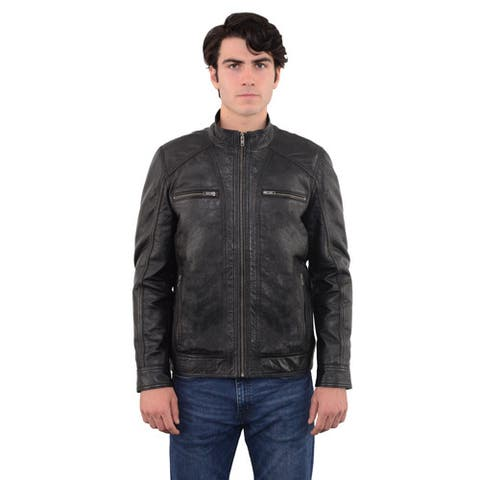 Men's Sheepskin Moto Leather Jacket with Zipper Front
