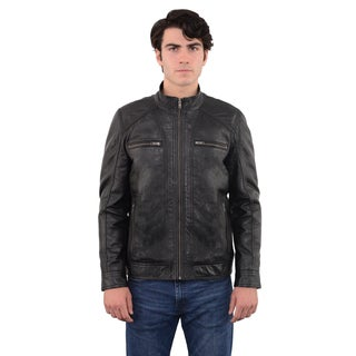 Men's Sheepskin Moto Leather Jacket with Zipper Front