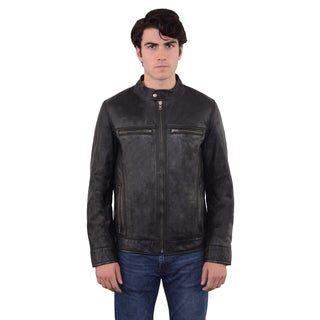 Men's Moto Solid-color Leather Zip-front Jacket
