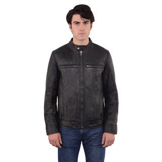 Men's Moto Solid-color Leather Zip-front Jacket|https://ak1.ostkcdn.com/images/products/13371234/P20070785.jpg?impolicy=medium