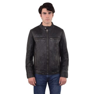 Men's Moto Solid-color Leather Zip-front Jacket (More options available)
