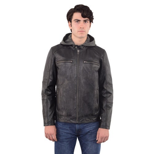 927dc8206f570 Shop Men's Snap Collar Leather Moto Jacket with Removable Hood - Free  Shipping Today - Overstock - 13371239