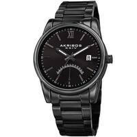 Akribos XXIV Men's Quartz Retrograde Stainless Steel Black Bracelet Watch