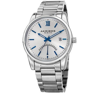 Akribos XXIV Men's Quartz Retrograde Stainless Steel Silver-Tone Bracelet Watch