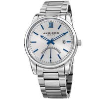 Akribos XXIV Men's Quartz Retrograde Stainless Steel Silver-Tone Bracelet Watch