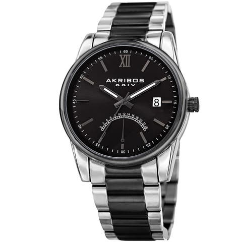 Akribos XXIV Men's Quartz Retrograde Stainless Steel Two-Tone/ Black Bracelet Watch