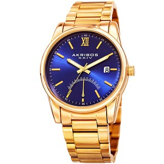 Akribos XXIV Men's Quartz Retrograde Stainless Steel Gold-Tone Bracelet Watch