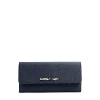 Michael Kors Women's Jet Set Navy Leather Travel Large Gusset Carry-all Wallet