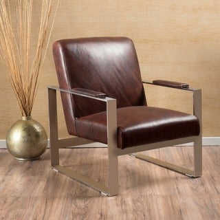 Nero Leather Club Accent Chair by Christopher Knight Home