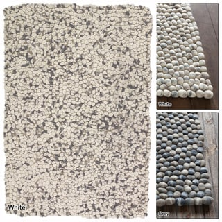 """Artist's Loom Hand-Woven Contemporary Abstract Pattern New Zealand Wool Shag Rug (5'x7'6"""")"""