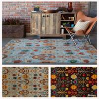 "Artist's Loom Hand-Tufted Contemporary Ikat Pattern Rug (5'x7'6"")"