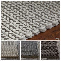 """Artist's Loom Hand-Woven Contemporary Abstract Pattern Wool  Shag Rug (5'x7'6"""")"""