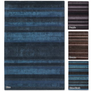 "Artist's Loom Hand-Woven Contemporary Stripe Pattern Rug (5'x7'6"")"