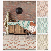 Artist's Loom Flatweave Contemporary Geometric Pattern Wool Rug (5'x7') - 5' x 7'