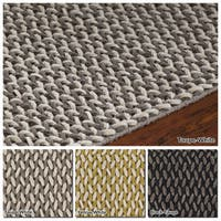 """Artist's Loom Hand-Woven Contemporary Solid Pattern New Zealand Wool Shag Rug (5'x7'6"""") - 5' x 7'6"""