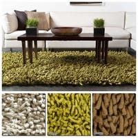 """Artist's Loom Hand-Woven Contemporary Solid Pattern New Zealand Wool Shag Rug (5'x7'6"""")"""