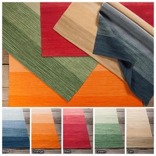 "Artist's Loom Flatweave Contemporary Stripe Pattern Cotton Rug (5'x7'6"")"
