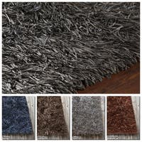 """Artist's Loom Hand-Woven Contemporary Solid Pattern Shag Rug (5'x7'6"""")"""