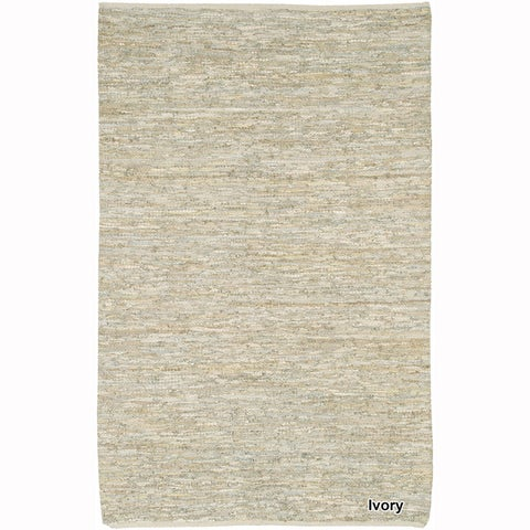"Artist's Loom Flatweave Contemporary Solid Pattern Leather Rug (5'x7'6"")"
